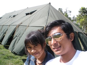 My daughter and my son in tent.